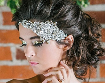 Rhinestone cluster embroidered bridal halo, boho glam chic, headpiece, crystal rhinestones, sparkly asymmetrical, Lady Evelyn, british lace