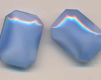 Six gorgeous vintage West German moonstone glass stones - 18 x 13 mm - periwinkle blue