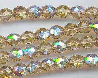 One 16-inch strand (about 50 beads) 8 mm light colorado topaz AB glass firepolished beads 520