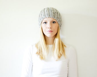the LATTA hat -basic chunky knit hat womens fitted hat beanie - marble