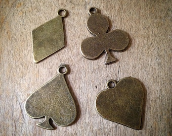 Set of 4 Poker Charms, Antique Bronze, Club, Spade, Heart, Diamond, Vintage Jewelry Supplies (AT193)