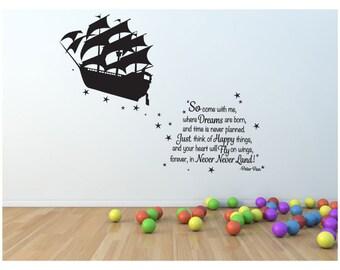 Peter Pan wall decal pirate ship vinyl decal sticker mural children boys and girls adventure NeverLand