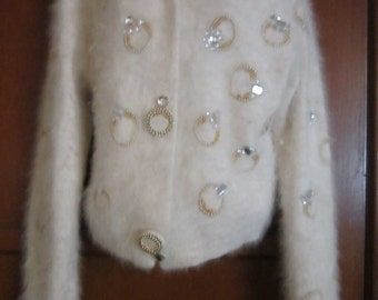 80's Classiques White Beaded Sweater