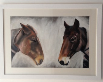 Horse Charcoal and Pastel Drawing