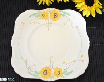 Yellow Art Deco Floral Square Handled Cake Plate, Sweet Dish, Afternoon Tea, Replacement China, ca. 1930-1940