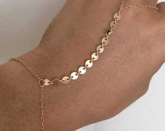 Sequin Connected Disc Gold Hand Chain also available in Silver