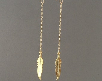 Gold Feather Chain Dangle Earrings
