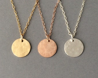 Gold Fill Hammered Disc Circle Necklace also in Rose Gold Fill & Sterling Silver