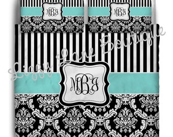 Custom Personalized Monogrammed Duvet OR Comforter SET with Pillowcases (Twin, Full/Queen, or King) - Great for Dorms!