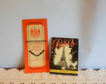 Vintage Paris Travel Map Champs Elysees City of Lights Paris Souvenirs