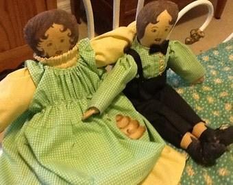 Homespun Boy Girl Quaker Dolls
