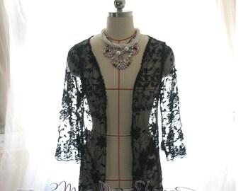 SUMMER CLEARANCE SALE  - Bohemian Black Lace Crochet Flower Floral Shawl Cape Jacket Kimono Robe Coverup, Gypsy Beach Summer Love Hippie