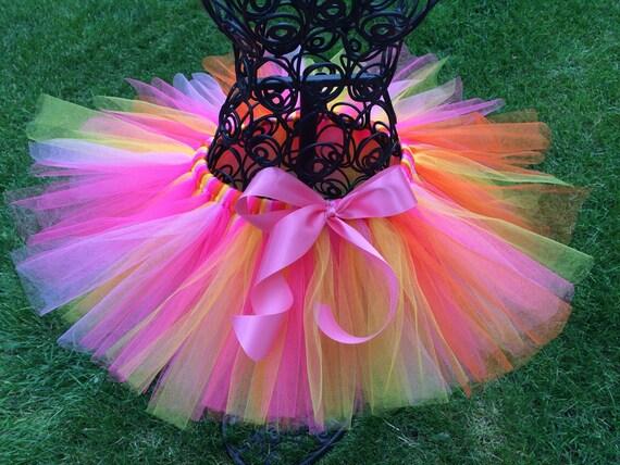 SUNBURST TUTU Pink Orange and Yellow Tutu Skirt Pink tutu Birthday girl tutu petty skirt first birthday second birthday