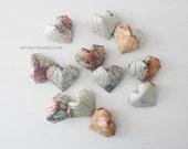 12 texture map origami hearts . wedding hearts . table decorations . heart favors . {heart like a balloon} -earth tones