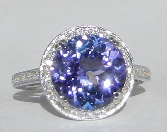 Natural 4.18 ct Tanzanite and Diamond Engagement Ring 14kt Solid Gold W/ Appraisal