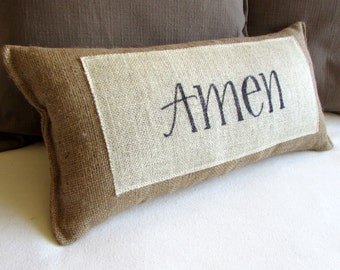 AMEN natural burlap pillow handmade and hand lettered