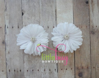 White Chiffon Flowers with Rhinestone Buttons Piggy Hair Bow Clips For Newborns, Girls, Toddlers, Babies, Teens