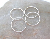 Four Cartilage Hoop Earrings, Argentium Silver, 24 Gauge Helix Piercing Hoops, Sterling Silver Ear Huggers, Recycled Silver Hoops