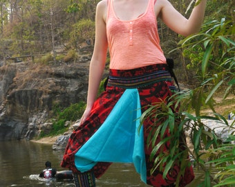 Funky Thai Capri Pants, Batik Cotton, Hmong Hill Tribe Style, Red, Blue and Black Paisley Print w Green Details - One Size Fits All