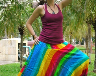 Thai Harem Pants in Cotton, Multicolor Wide Blue and yellow Tint Stripes -- Aladdin Pants -- Women's Harem Pants -- Drop Crotch Style