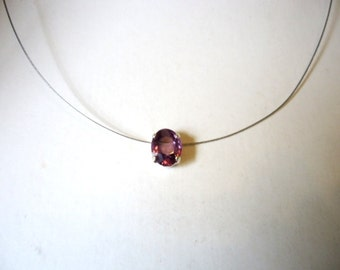 Necklace Single Stone Oval Amethyst purple colour Glass Chaton Rhinestone pendant by JulieDeeleyJewellery on Etsy