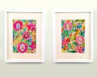 Do Justice Floral Set of Two Prints of Watercolor Original Paintings