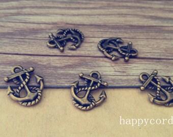 30pcs of  Antique bronze anchor  charm pendant  14mmx17mm