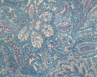"""Blue Floral Paisley Fabric Remnant 42"""" x 45"""""""