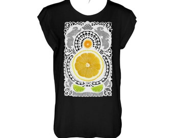 Lemon, lime and orage a celebration of Mediterranean fruits and doily black tshirt loose fit,scoop neck and cropped hems (laser cut)