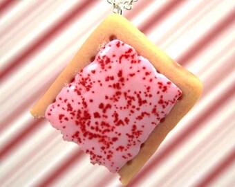 cherry pop tart necklace kawaii polymer clay charms miniature food jewelry polymer clay food necklace cherry poptart necklace food charm