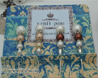 Mini Handcrafted Craft Pins for Cardmaking, Scrapbooking or Mini Albums Latte/Chocolate