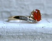 Sweet Vintage 10K Yellow Gold Fire Opal and Diamond Ring - 0.60ct.