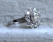 Antique Platinum Diamond Cluster Wedding Engagement Ring - 2.93ct.