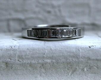 Fabulous Vintage Platinum Baguette Diamond Channel Wedding Band - 0.78ct.