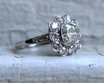 Antique Platinum Diamond Cluster Wedding Engagement Ring - 2.93ct.
