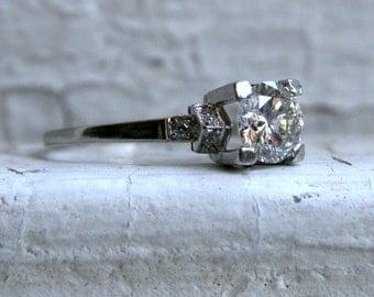 Stunning Art Deco 18K White Gold Diamond Pave Diamond Ring Engagement Ring.