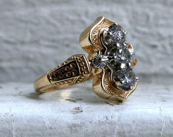Unique Vintage 14K Yellow Gold Diamond Engagement Ring - 0.45ct.
