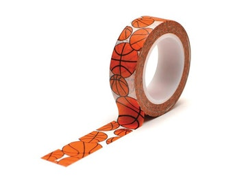 Basketball Paper Washi Tape by Queen and Co Trendy Tape - 1/2 in by 10 yards