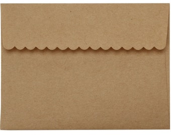 Kraft Envelopes with Decorative Scalloped Borders Set of 20 A2 Envelopes for Embellishing by Darice