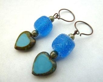 handmade blue lampwork and copper heart earrings, UK jewellery