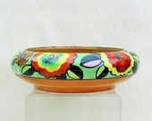 Vintage Art Deco bowl, colorful 1930's hand painted china bowl made in Japan