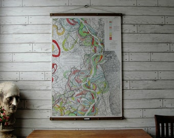 Mississippi River Map #5 / Vintage Reproduction / Canvas Fabric or Paper Print / Oak Wood Hanger and Brass Hardware / Organic Wood Finish