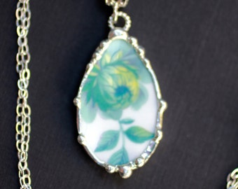 Necklace, Broken China Jewelry, Broken China Necklace, Oval Pendant, Aqua Turquoise Floral China, Sterling Silver, Soldered Jewelry