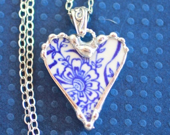 Necklace, Broken China Jewelry, Broken China Necklace, Heart Pendant, Blue Transferware, Sterling Silver Chain, Soldered Jewelry