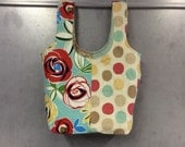 Handmade carry-all luchbag or purse - washable, durable, reversable - flowers and dots