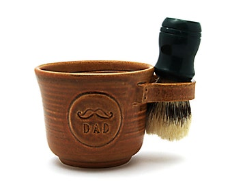 Shave Mug for Dads with a Mustache in Brown, Cream or Blue : Husband Gift for Fathers - Brush NOT Included - Made to Order Allow 4-8 weeks