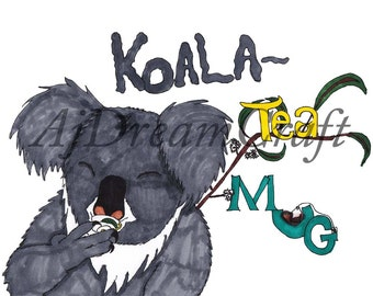 Koala-Tea: Original Design. Kitchen Decor, Home Decor, Wall Art, Gift, 11x14 Printable Instant Digital Download