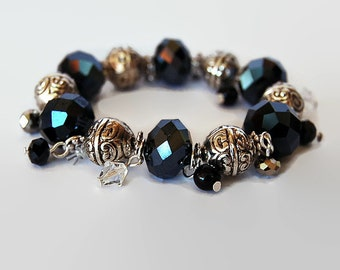 Black, white and silver Swarovski crystal bracelet