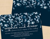 Sparkly Stars On Water Blue Wedding Invitation: Landscape, Horizontal (7 x 5), Text-Editable in Microsoft® Word - Printable Instant Download