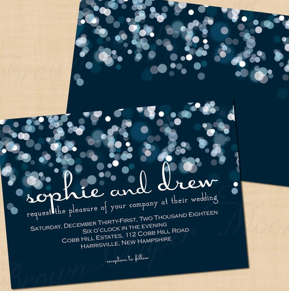 Sparkly Stars On Water Blue Wedding Invitation (7x5, Landscape): Text-Editable in Microsoft® Word, Printable, Instant Download